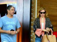 William Bonner almoça com a namorada, Natasha Dantas, em shopping do Rio