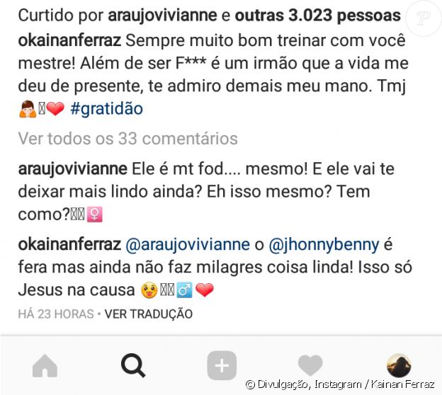 Viviane Araujo elogiou o namorado, Kainan Ferraz, em foto com personal