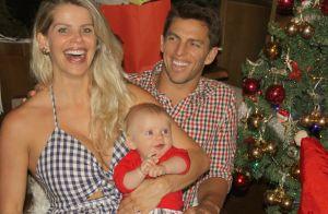 Karina Bacchi combina look com namorado, Amaury Nunes, em foto com filho, Enrico