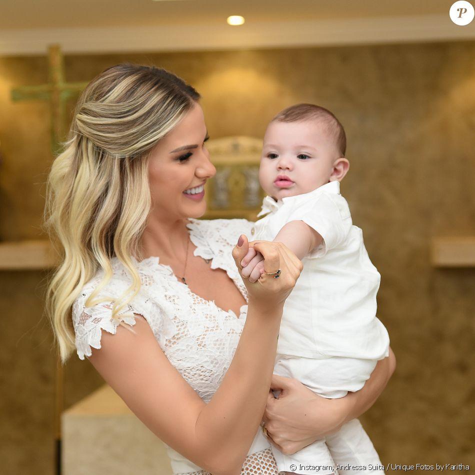 Gabriel, filho de Andressa Suita e Gusttavo Lima completa seis meses nesta quinta-feira, 28 de dezembro de 2017