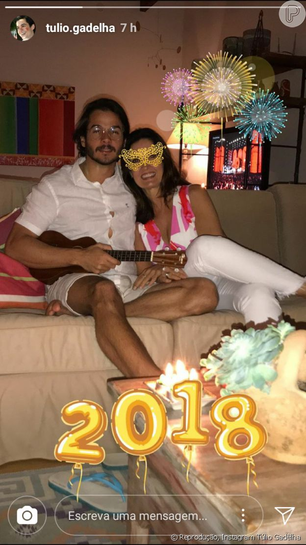 Fátima Bernardes e Túlio Gadêlha comemoraram juntos a chegada de 2018