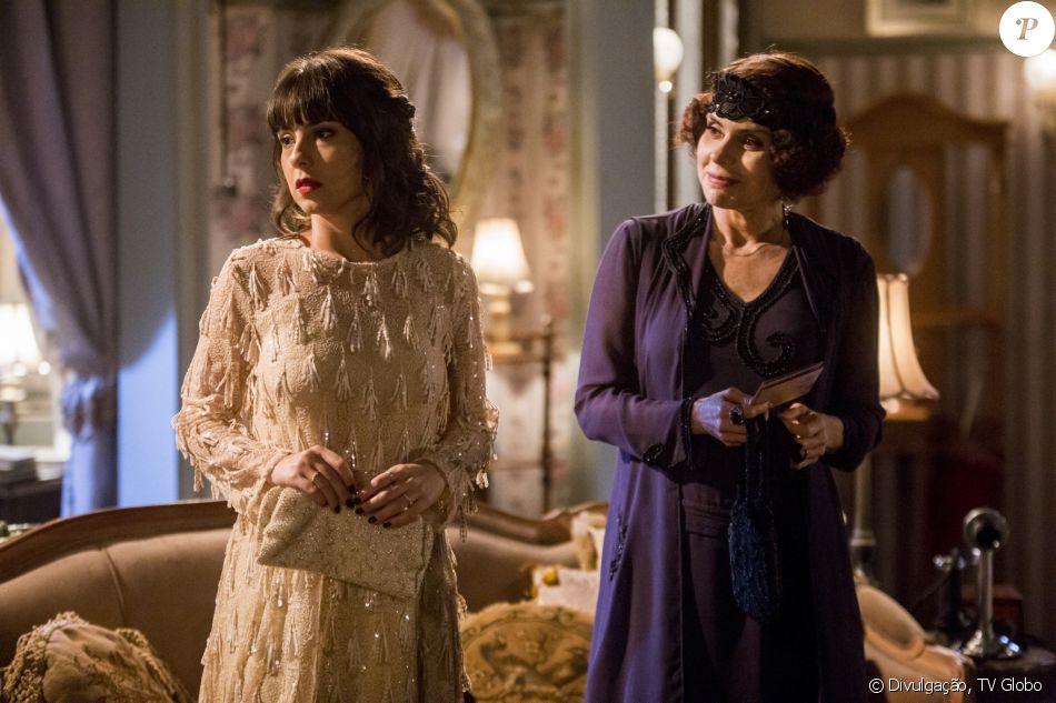 Na novela 'Tempo de Amar', Lucinda (Andreia Horta) descobrirá que Emília (Françoise Forton) teve um caso com o Barão de Sobral