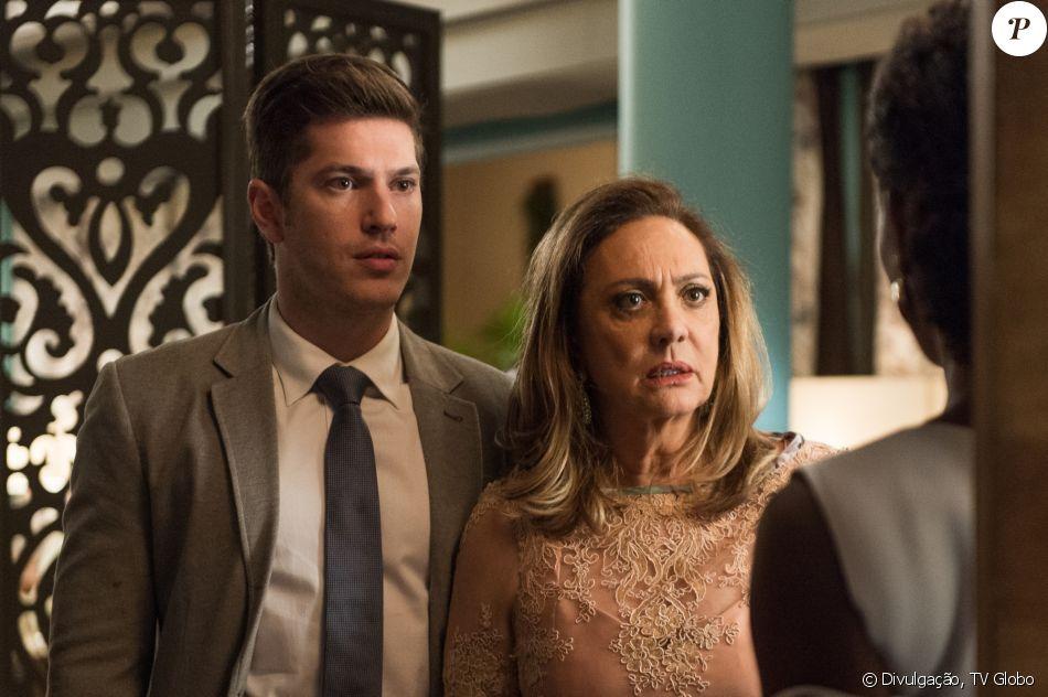 Nádia (Eliane Giardini) será obrigada a cuidar de Raquel (Erika Januza) pelo filho Bruno (Caio Paduan) nos próximos capítulos da novela 'O Outro Lado do Paraíso'