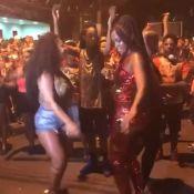 De peruca, Viviane Araújo samba com a cantora Iza em ensaio do Salgueiro. Vídeo!