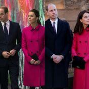 Kate Middleton aposta em sobretudo de R$ 6,6 mil em visita com Príncipe William