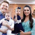 Thais Fersoza contou que Melinda e Teodoro, seus filhos com Michel Teló, ficaram em casa com a avó
