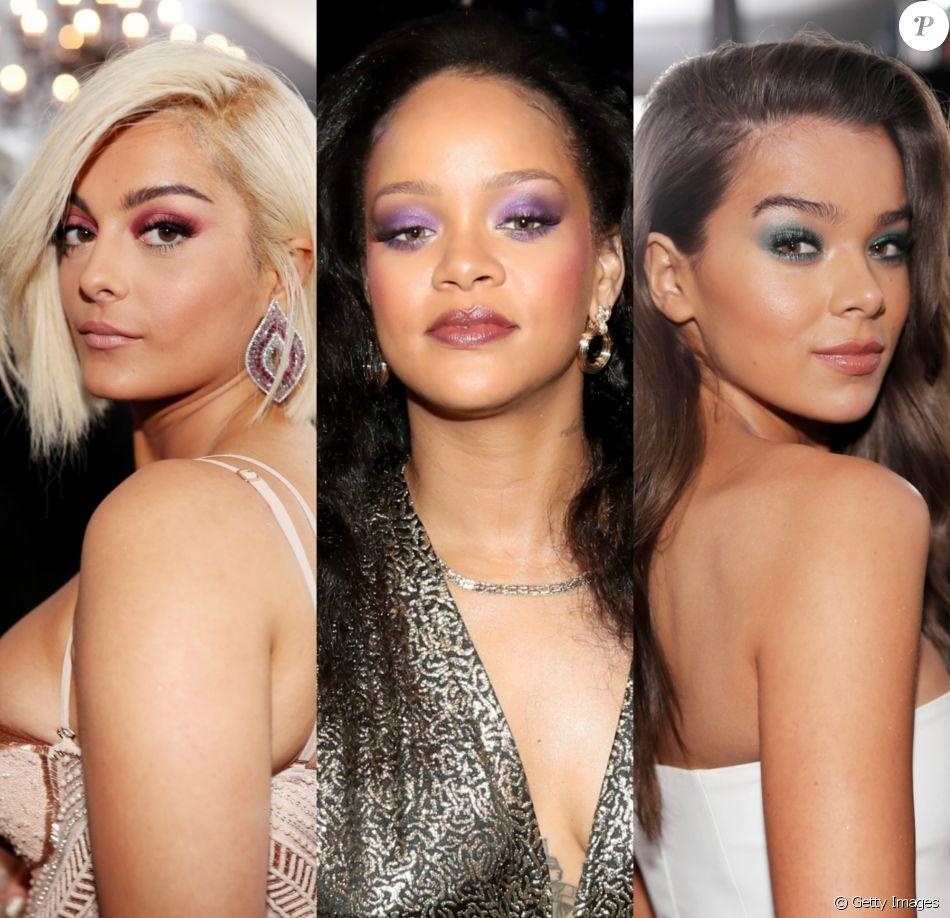 Bebe Rexha, Rihanna e Hailee Steinfeld usaram sombras coloridas no Grammy Awards 2018
