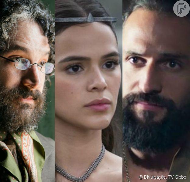 Na novela 'Deus Salve o Rei', Catarina (Bruna Marquezine) viverá um triângulo amoroso com Hermes (Caco Ciocler) e Constantino (José Fidalgo). As cenas estão previstas para irem ao ar a partir da quarta-feira, 07 de fevereiro de 2018