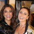 Juliana Paes se encontrou com Giovanna Antonelli em lançamento da coleção inverno da Le Lis Blanc, na noite desta quarta-feira, 31 de janeiro de 2018. Fotos!