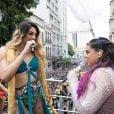 Pabllo Vittar e Preta Gil cantaram juntas no bloco que sacudiu o Centro do Rio de Janeiro na manhã deste domingo, 4 de fevereiro de 2018