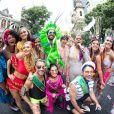 Famosos levaram cores com suas fantasia para o trio elétrico do Bloco da Preta, no Centro do Rio de Janeiro, neste domingo, 4 de fevereiro de 2018