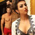 Ana Júlia Dorigon posa sexy de lingerie ao lado de modelo de cueca