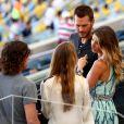 Gisele Bündchen momentos antes de entrar no campo ao lado de Carles Puyol na cerimônia de encerramento da Copa do Mundo, no Maracanã, neste domingo, 13 de julho de 2014