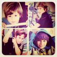 Carolina Dieckmann compartilhou com os fãs uma montagem de fotos dos filhos José e Davi