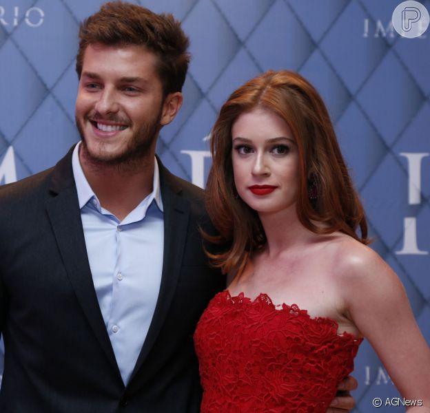 klebber e Marina estão no ar na novela 'Império' e foram juntos ao evento de lançamento da novela