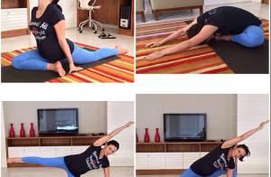 Aos oito meses de gravidez, Kyra Gracie pratica ioga: 'Melhora o equilíbrio'