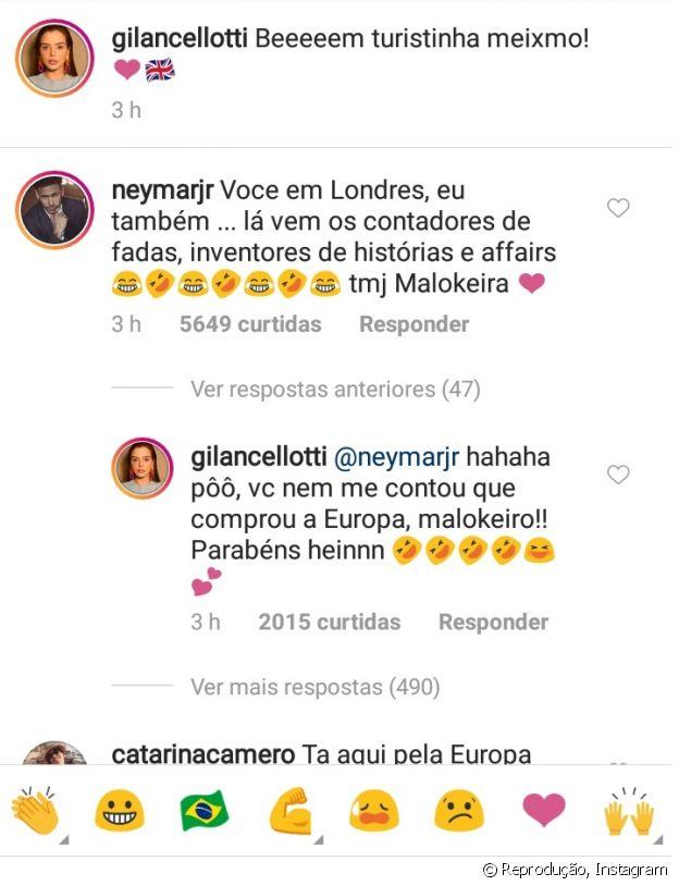 Neymar comenta em foto de Giovanna Lancellotti