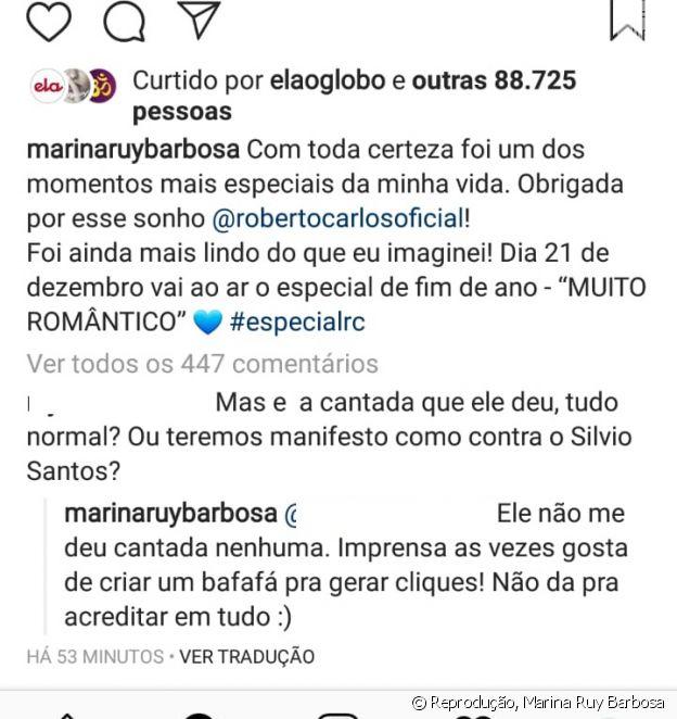 Marina Ruy Barbosa responde seguidora que questionou sobre cantada
