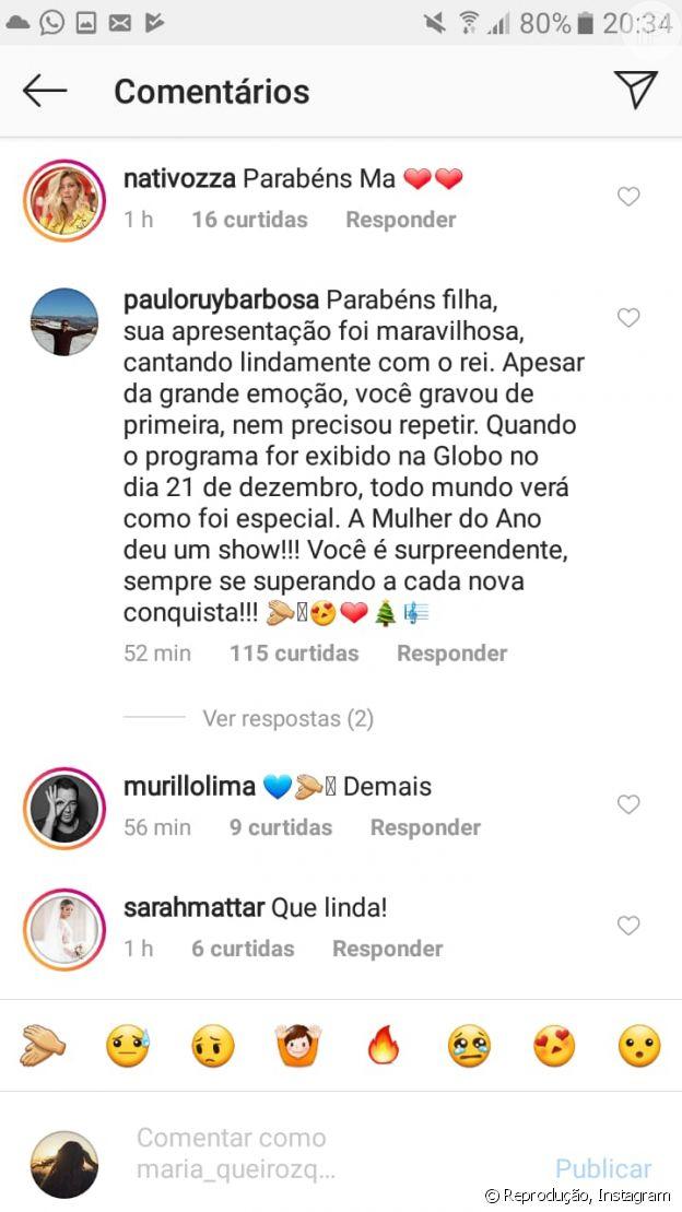 Pai de Marina Ruy Barbosa elogia atriz