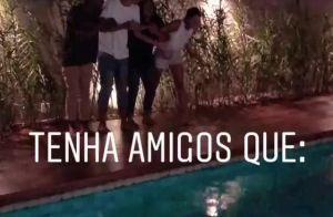 Bruna Marquezine estreia casa nova com rodízio de pizza, culto e pulo na piscina