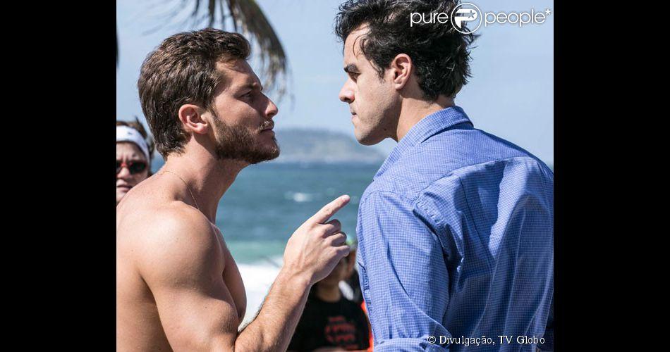 Leonardo (Klebber Toledo) e Enrico (Joaquim Lopes) se enfrentam, em 'Império', em 3 de outubro de 2014