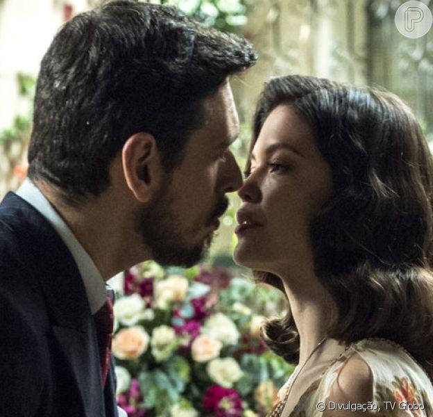 Júlia (Vitória Strada) vai recusar beijo de Gustavo Bruno (João Vicente de Castro) e afirmar ter nojo do marquês nos próximos capítulos da novela 'Espelho da Vida'