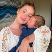 Madrinha do filho de Luma Costa, Marina Ruy Barbosa festeja 1° mês de Eduardo