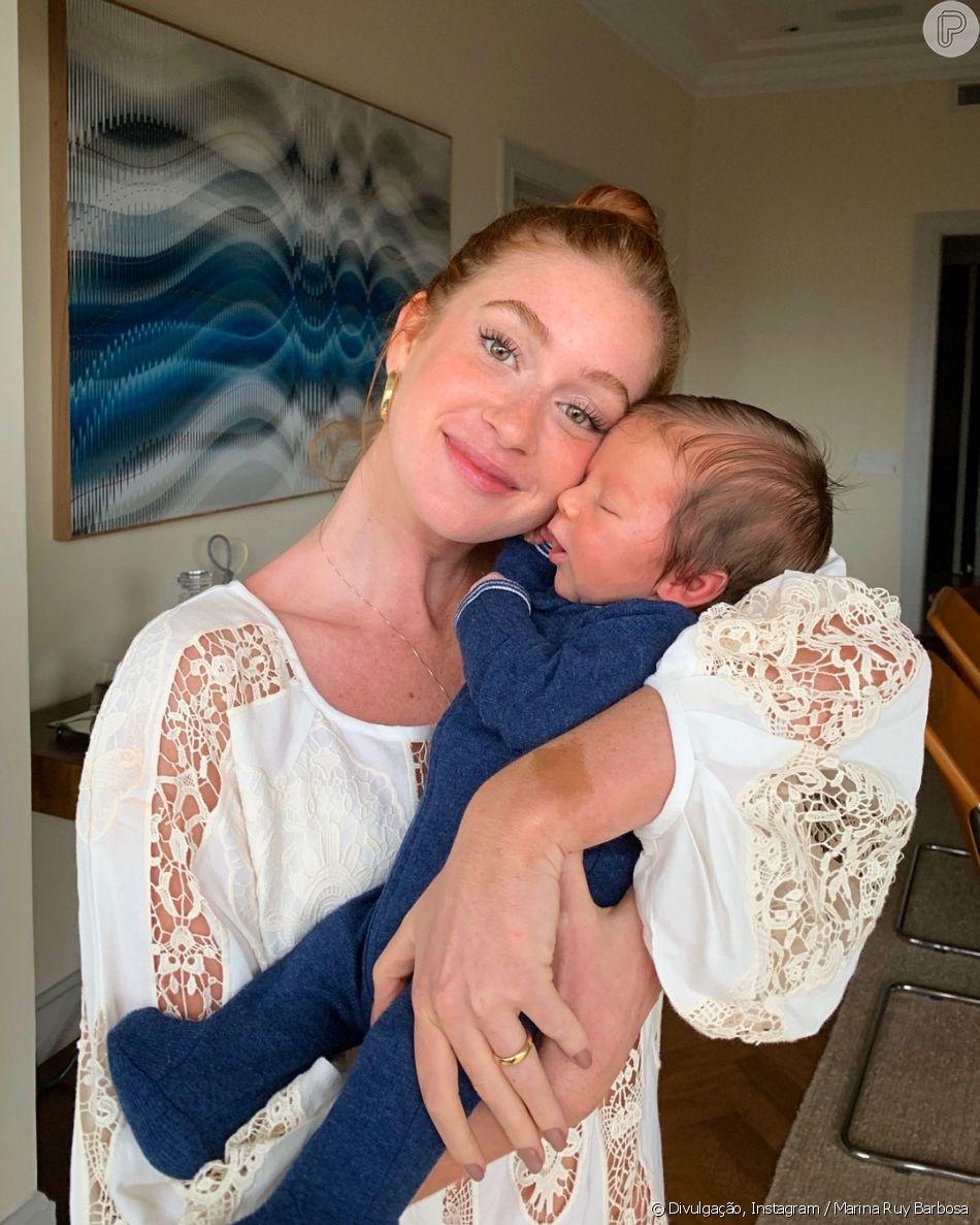 Marina Ruy Barbosa festeja primeiro mês do filho de Luma Costa: ' Não sei nem descrever a emoção que eu sinto sendo escolhida pra fazer parte dessa família'