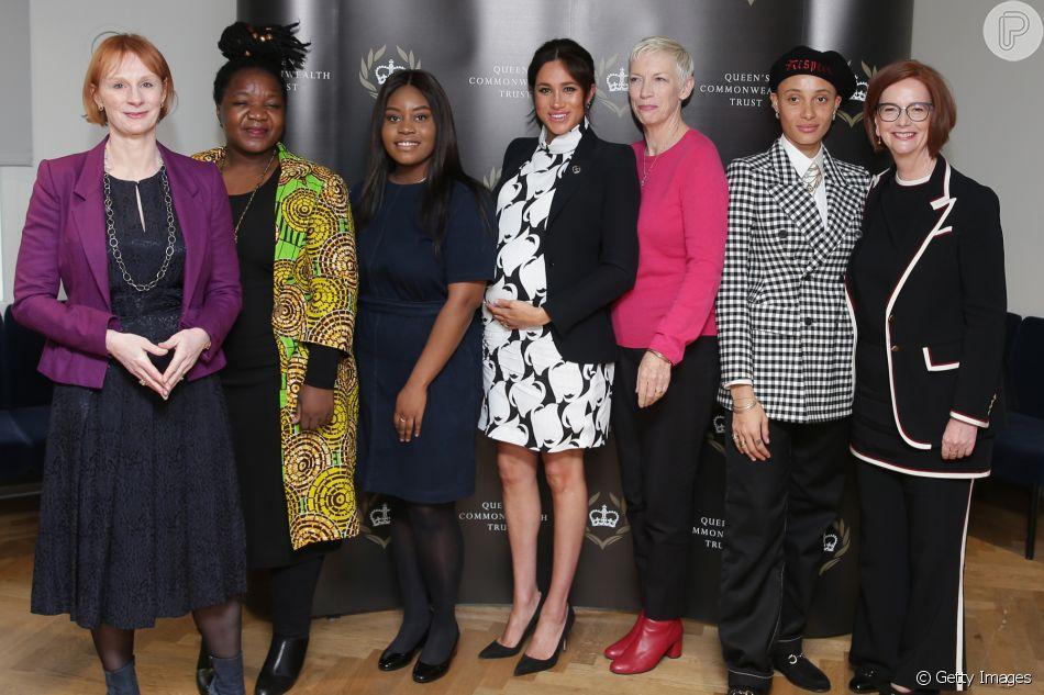 Meghan Markle defende feminismo em discurso no Dia da Mulher em painel em Londres nesta sexta-feira, dia 08 de março de 2019