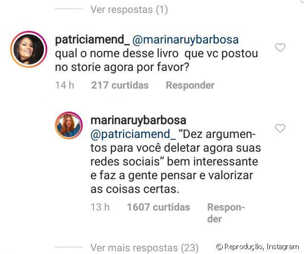 Marina Ruy Barbosa conta estar lendo livro sobre redes sociais a fã