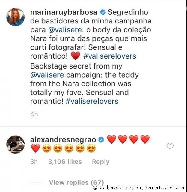 Xande Negrão fica encantando com Marina Ruy Barbosa em comentário no Instagram