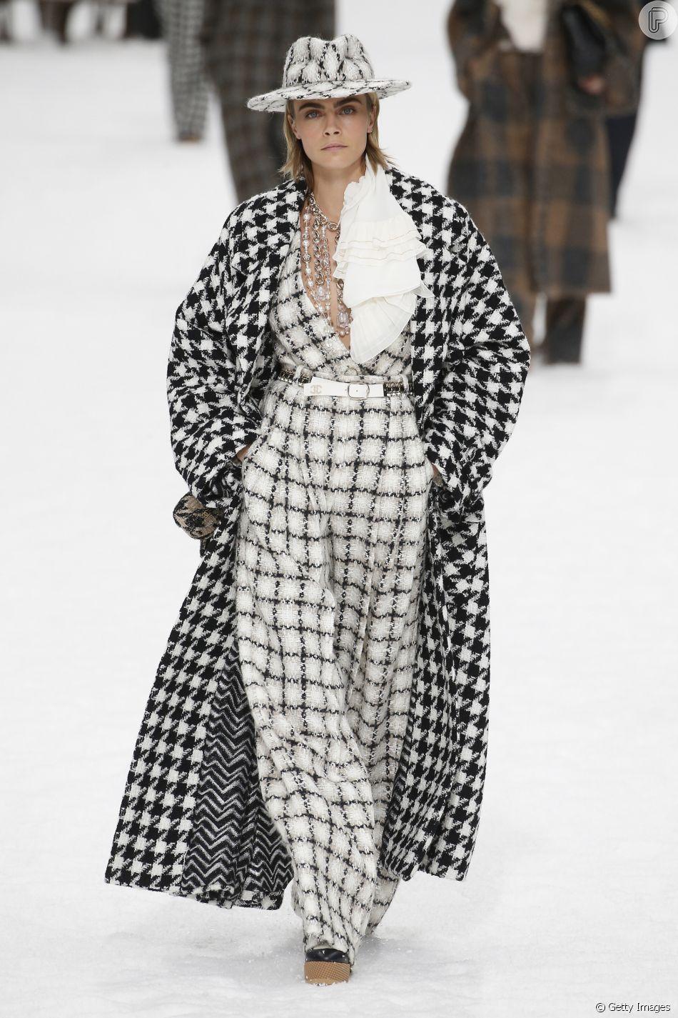 Mix de xadrez foi a aposta da Chanel para o Outono-Inverno. Estampa é trend!