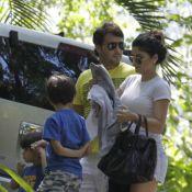 Vanessa Giácomo, grávida, leva os filhos para passeio em fazenda com o marido
