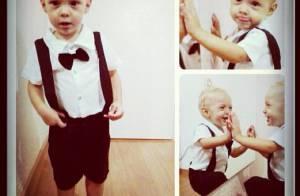 Neymar publica foto do filho, Davi Lucca, com traje fino e gravata borboleta