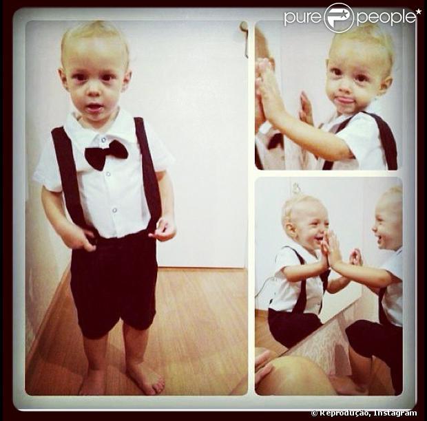 Neymar posta foto do filho, Davi Lucca, de 1 ano, em sua conta do Instagram, em 17 de fevereiro de 2013