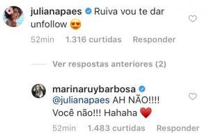 Marina Ruy Barbosa responde ameaça de unfollow de Juliana Paes: 'Você não'