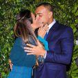 Luciele Di Camargo e o ex-jogador da seleção brasileira Denilsonse beijam emlançamento de nova campanha publicitária da empresa Seara, no buffet Casa Fasano, emSão Paulo, na noite desta quinta-feira, 06 de junho de 2019
