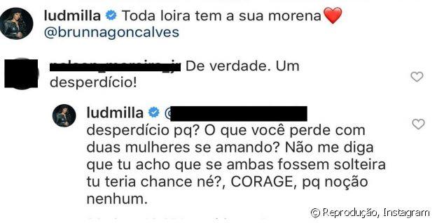 Ludmilla responde internauta após comentário maldoso em foto dela com namorada