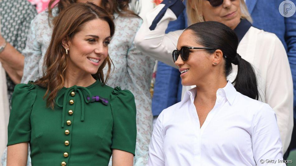 Meghan Makle e Kate Middleton assistiram a final feminina de Wimbledon neste sábado, 13 de julho de 2019