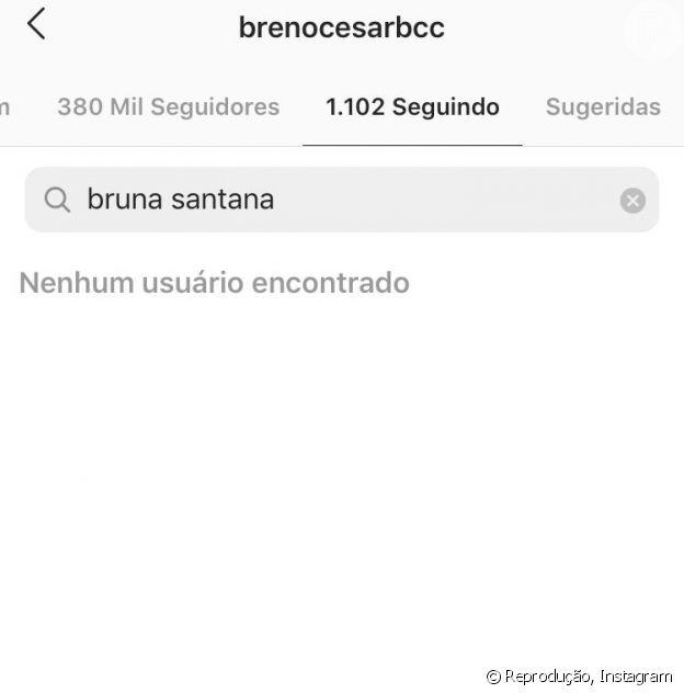 Breno César deixa de seguir Bruna Santana no Instagram
