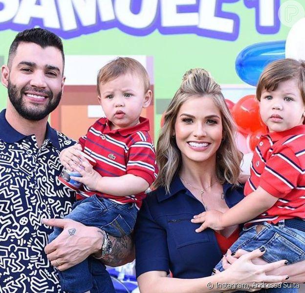 Gusttavo Lima arrancou sorriso do filho caçula, Samuel, em aniversário: 'Lindeza'