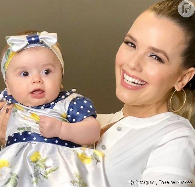 Thaeme Mariôto combinou look com a filha, Liz, nesta sexta-feira, 6 de setembro de 2019