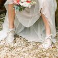 Detalhe do tênis escolhido pela noiva Titi Muller para o seu casamento