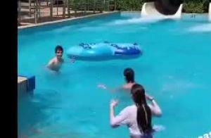 Sophia Valverde e namorado curtem parque aquático antes de show no CE. Fotos!