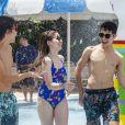 Sophia Valverde, o namorado, Lucas Burgatti, e Igor Jansen visitaram parque aquático neste sábado, 5 de outubro de 2019