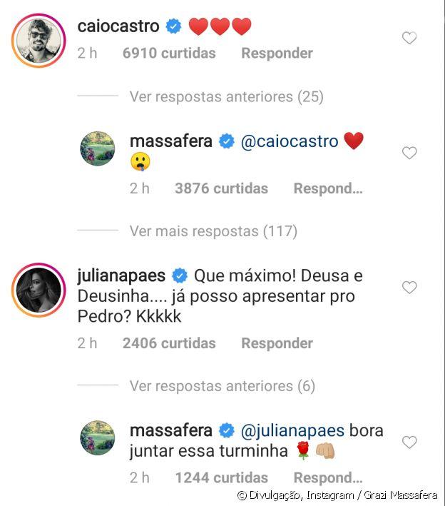 Caio Castro comenta foto de Grazi Massafera com a filha, Sofia