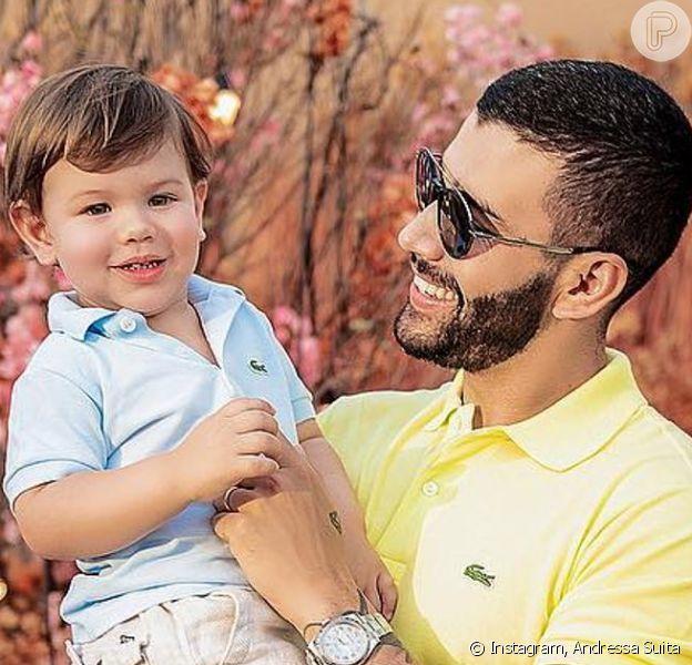 Filho mais velho de Andressa Suita e Gusttavo Lima foi comparado ao cantor pela influencer: 'Cara do papai'