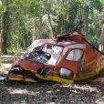 Na novela 'Topíssima', gravações do acidente de helicóptero com Antonio (Felipe Cunha) e Sophia (Camila Rodrigues) envolveram réplica de uma aeronave