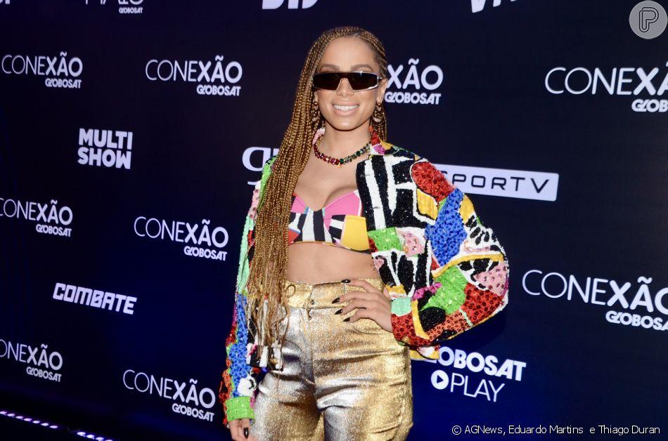 Anitta rouba a cena com look diferentão em evento Conexão Globosat, nesta quinta-feira, 10 de outubro de 2019