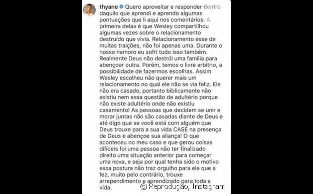 Thyane Dantas nega adultério de Wesley Safadão